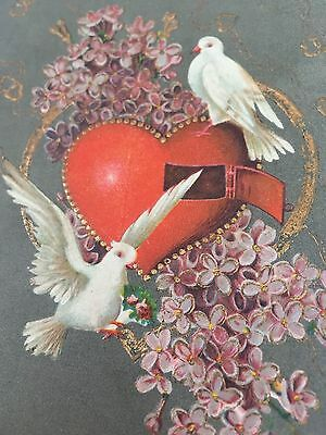 Antique VALENTINE POSTCARD Early 1900's Two Doves w Open Heart Floral Embossed