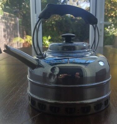 Old Used Stainless Steel Copper Bottom Bolling Kettle Put The On Hot Water