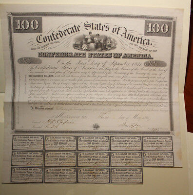 1861 Confederate States Of America $100 Bond 14 Coupons Attached  Rare!