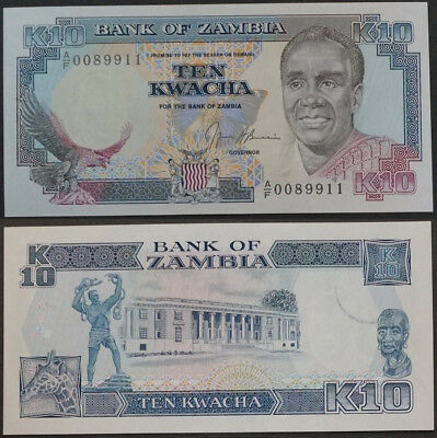 ZAMBIA 1991 P-31b 10 Kwacha in gem-UNC AF series - US-Seller