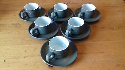 Set of six Denby Chevron cups and saucers. Vintage Retro 1960's Tableware Green