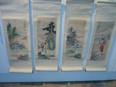 Vintage Chinnese Scroll Painting's x 4 Water Colour Spring To Winter.