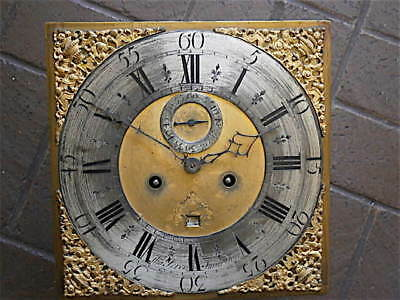 12+12 inch 8DAY c1720 LONGCASE   CLOCK dial + movement      Thomas Veren Smarden