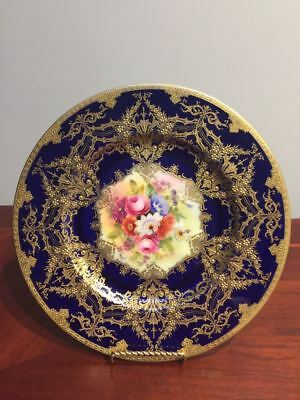Vintage  Royal Worcester Hand Painted Ruby Red & Gold Encrusted Cabinet Plate