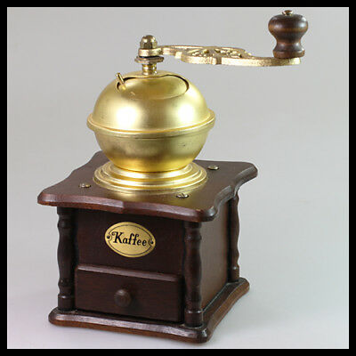 old rare vintage antique Germany Wooden Metal Brass Coffee Grinder Mill