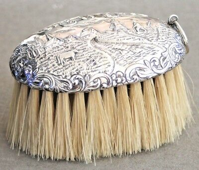 Vintage sterling silver clothes brush repousse country scene possibly dutch