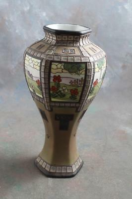 "Antique Nippon Handpainted Moriage Vase 10"" Landscape Panels"