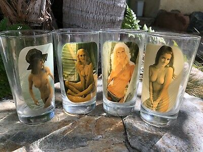 Collectible 1970's Lot of 4 Sip & Strip Nude Woman Glasses Tumblers