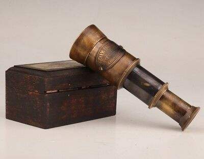 Old Private Collection Wood Boxes Bronze Telescopes Made In London 1915