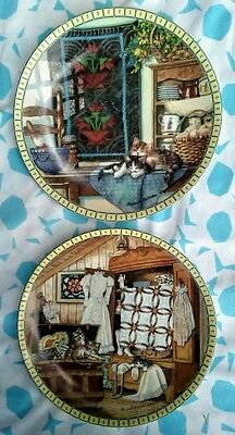 Edwin M Knowles Vintage Plates Cozy Country Corners 1990 1991 Ingmire Set of 2