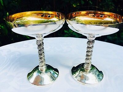Stunning Set Of 2 Casa Pupo Silver Plated EPNS Goblets Gold Colour Interior