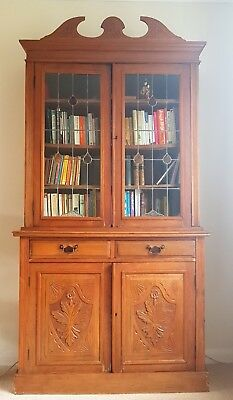Antique Victorian Glazed Bookcase, Stripped Wood Library Display Cabinet Dresser