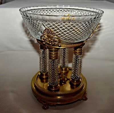 c.1880-95 France Antique Brass Centerpiece Crystal Glass Bowl on Four Columns