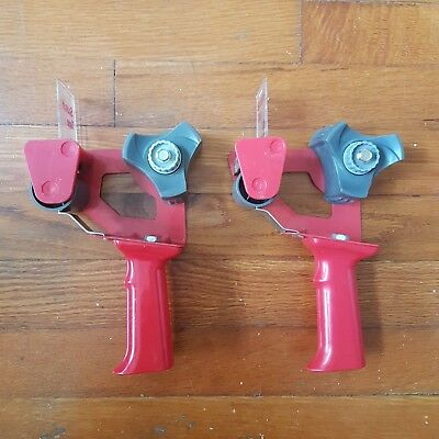 "Lot of Two 3M Scotch 2"" Hand-Held Industrial Side Loading Tape Gun/Dispenser RED"