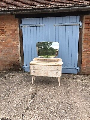 1950s Antique Vintage Dressing Table With Mirror