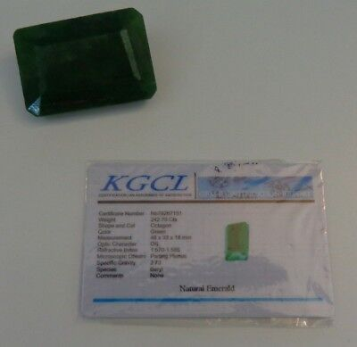 KGCL Certified HUGE 242.70 Ct Green Natural Beryl Octagonal Loose Emerald