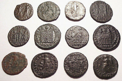 Lot of 12 Æ3-4 Ancient Roman Bronze and Silver Coins