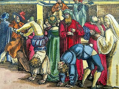 1532 Hans Weiditz - Master Woodcut - Inappropriate Behaviour - hand coloured