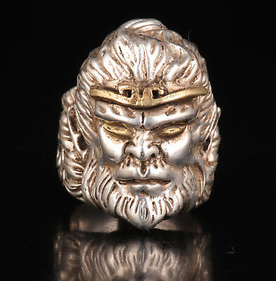 Valuable Old Tibetan Silver Man Ring Monkey King Unique Holy Mascot Collection