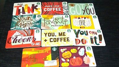 11-Card Set, Starbucks Fall 2018 Recycled Paper Gift Cards