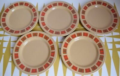 Vintage set of 5 beige & red side Plates. Staffordshire pottery. Retro. Spotty