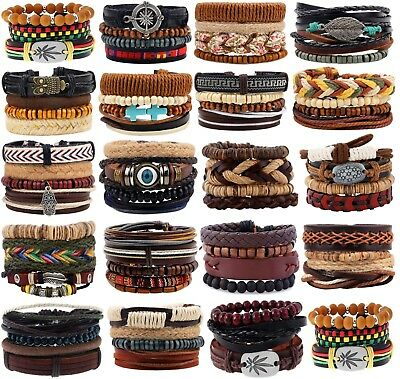 Leather Beaded Women Cuff Bracelet Tribal 4pcs Black Adjustable Braided Mens