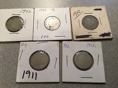 1902, 06, 10, 11, 12 U.S. Nickles - Lot of 5 Coins