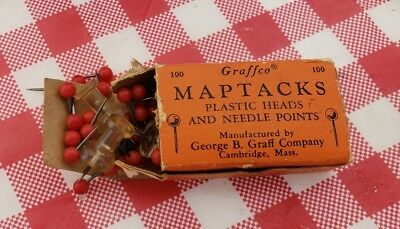 Vintage Box of Graffco Maptacks Map Tack Plastic Heads & Needle Points Graff