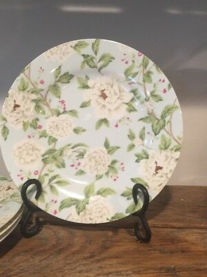 """Sanderson for Queen's Fine China Peony Tree 9"""" Dessert Luncheon Plates Set Of 4"""