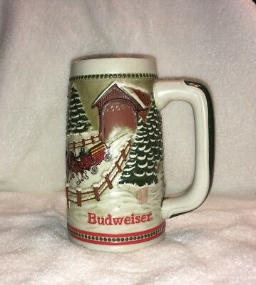 Budweiser Beer Stein Holiday Mug Vtg 1984 Covered Bridge Clydesdale Hitch