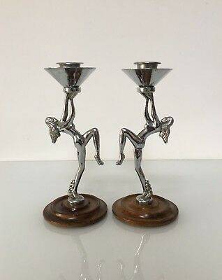 Vintage Art Deco Candlesticks Figurative Females Design - Candle Holders