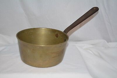 """Antique heavy 6 """" Brass Saucepan with a lovely forged iron handle"""