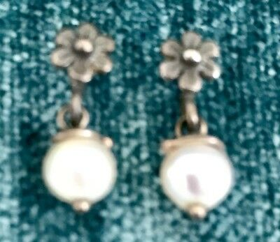 "Delicate White Faux Pearl 1/2"" Drop Floral Earrings"