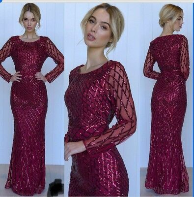 Gorgeous Size 18 Sequins Formal Gown Wine Burgundy maroon Long Sleeves