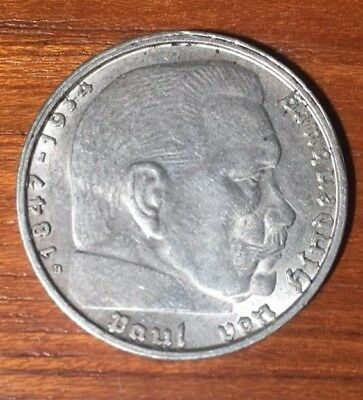 2 Circulated 1938 and 1939 2 mark German WWII Silver Coin Third Reich Reichsmark