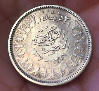 1937 Egypt Two Piastres .833 Silver 2.8 Gr K. Farouk ***xf*** U Grade The Coin