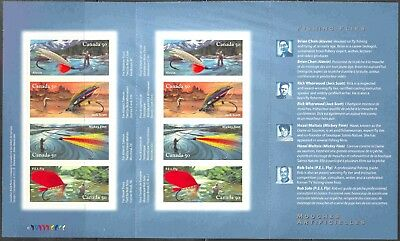 2005 Canada #2088a X 2 Complete Self-Adhesive Booklet of 8 Fishing Flies