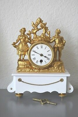 Antique French mantle clock. Running. Restored. Slate. SGDG movement.