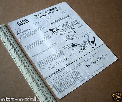 1960s Vintage FROG Instruction Leaflet for a High-Wing Cabin Monoplane Model