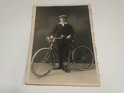 RPPC Young Man ANTIQUE BICYCLE Early Real Photo Postcard