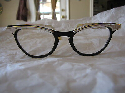 Vintage Black and Gold Aluminum Cateye Glasses