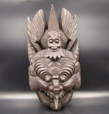 330mm Handmade Carving Painting colored drawing wood Mask God Deco Art