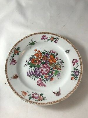 Antique 1800's Chinese Export Famille Rose Small Lunch Plate Floral Decoration
