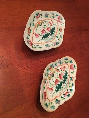 Two Antique Chinese 19C Famille Rose Porcelain Footed Plates - GORGEOUS