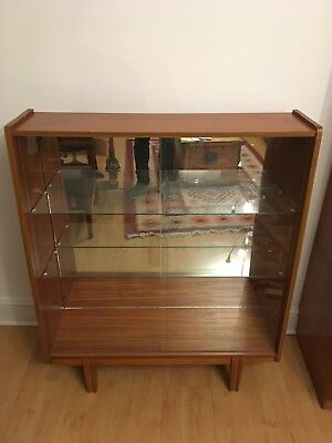 Vintage mid century 1960s teak glazed bookcase shelves & light
