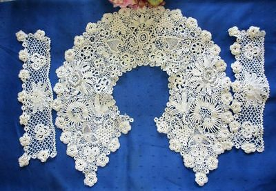 Superb Antique Set Hand Made Irish Clones Lace Collar/cuffs~Many Different Motif