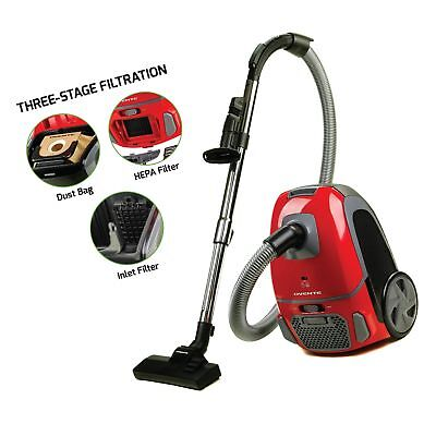 Ovente ST1600 Canister Vacuum Cleaner with Tri-Level Filtration RB