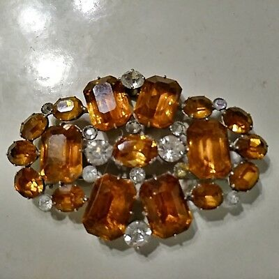 Antique Vintage Huge Topaz & Clear Rhinestone Coat/cloak Brooch