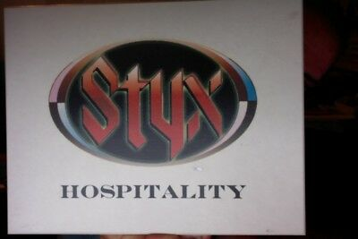 "STYX ORIGINAL BACKSTAGE USED HOSPITALITY SIGN 8 1/2"" x 11"" x 3/8"" w/ TICKET STUB"