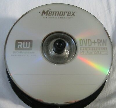 Lot 25 Memorex RW DVD+RW Rewritable 4.7GB 120 Minute Video Discs New Open Stock